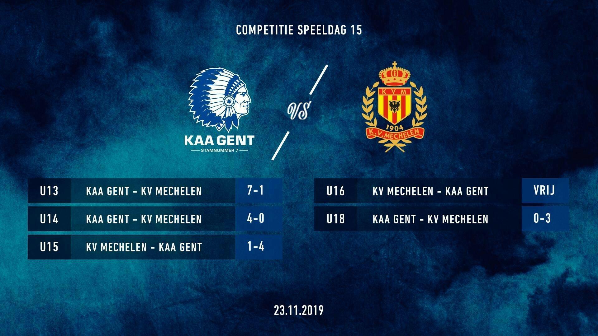 Jeugd: uitslagen KAA Gent - KV Mechelen