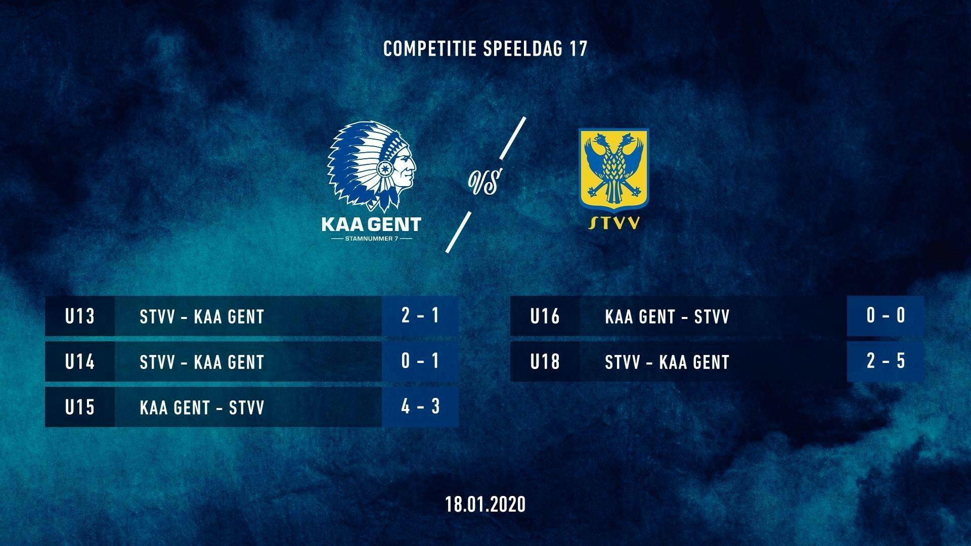 Jeugd: uitslagen KAA Gent - STVV