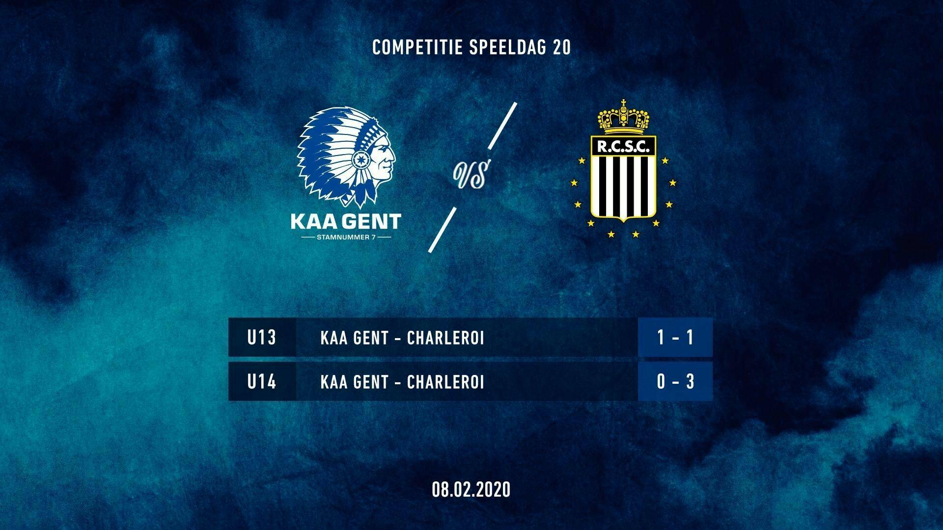Jeugd: uitslagen KAA Gent - Charleroi